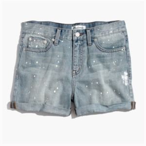 Madewell Boy Short Paint Splatter Denim Shorts